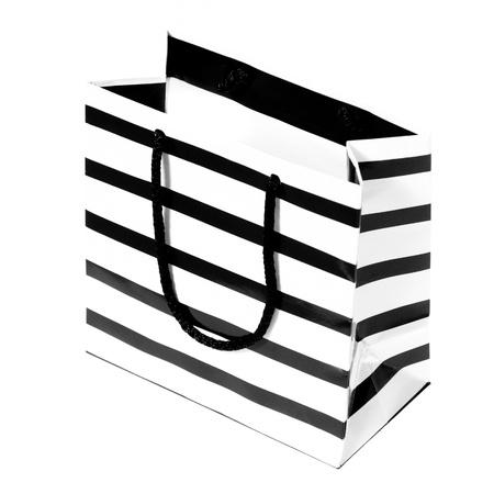 White paper presente saco com listras pretas sobre ele. Isolado no fundo branco. Imagens
