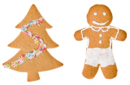 Two christmas cookies isolated Stock Photo