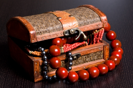 Old jewelery chest with necklaces  Box has retro metal lock Stock Photo - 14953768
