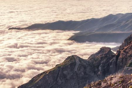 Misty morning on Madeiras Pico Ruivo Editorial