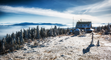 Hut in mountin during winter. Polish Beskidy.