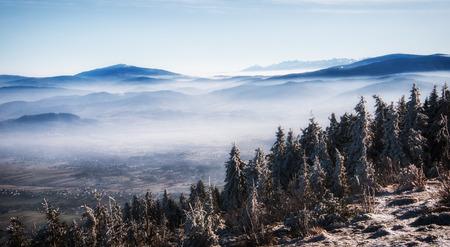 Mountain panorama from winter peak. Polish Beskidy.