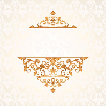 gold lace: illustration of a gold lace pattern or Baroque, Victorian style. Luxury design with space for text and background of a similar element. For wedding invitations, greeting cards.