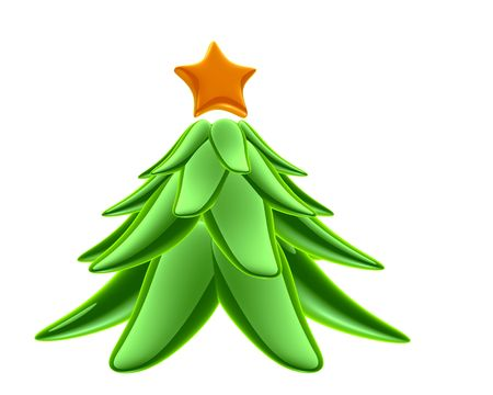 glass green tree with orange star on top Stock Photo