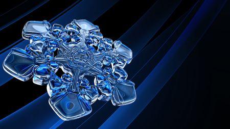 blue icy snowflake on black background Stock Photo
