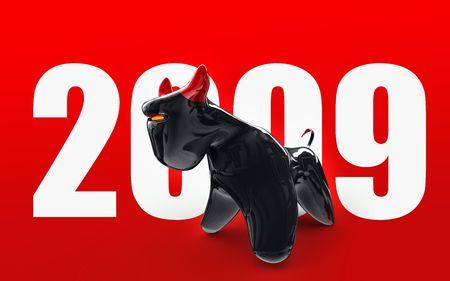 Black futuristic bull on backroud white text