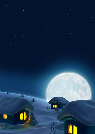 Three snow-covered houses and big  moon on background