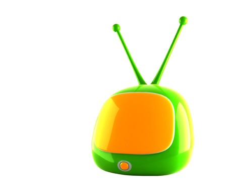 stylized green tv on white background