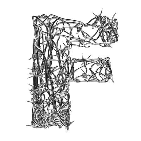 fil de fer: type de fil de fer barbelé avec canal alpha f  Banque d'images