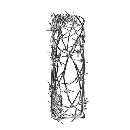 barbed wire type with alpha channel i Stock Photo