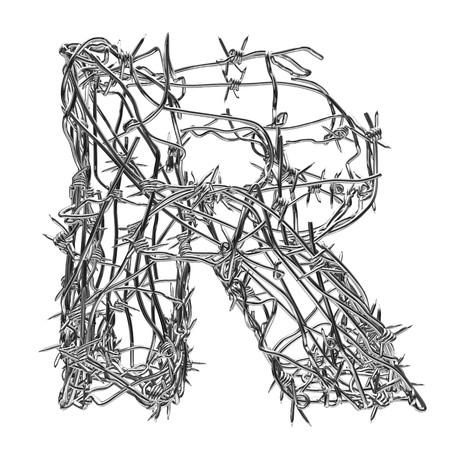 decorative letter: barbed wire type with alpha channel r Stock Photo