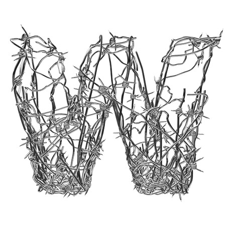 barbed wire type with alpha channel w Stock Photo