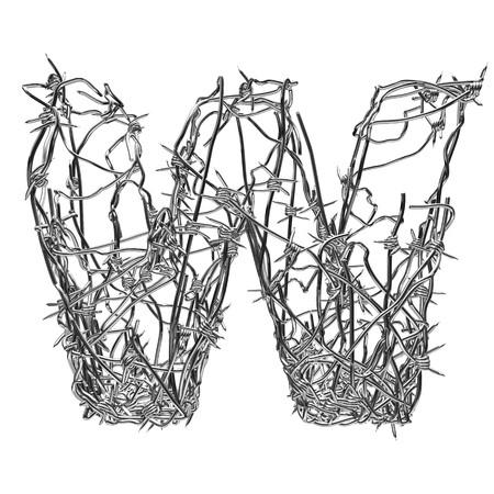 fil de fer: type de fil de fer barbelé avec canal alpha w  Banque d'images