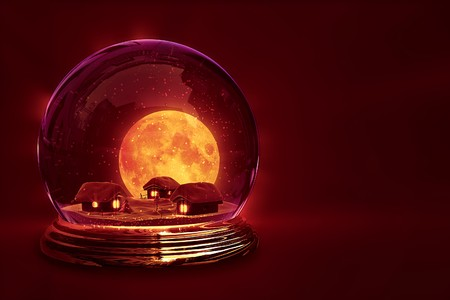 Three snow-covered houses and big moon inside glass ball