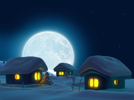 Three snow-covered houses and big  moon on background  Stock Photo