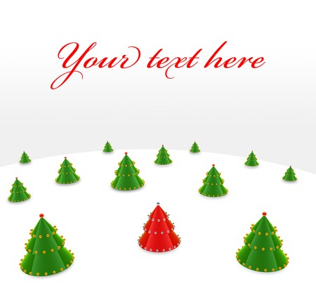 Green and red christmas tree on white background
