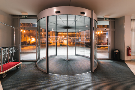 Spinning door hotel entrance