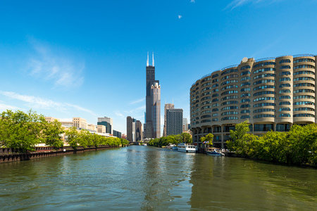 Chicago cityscape seen from Chicago river.