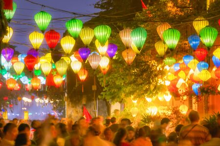 Celebration of Tet, Vietnamese new year, in Hoi An. The streets are decorated with traditional Vietnamese lanterns.