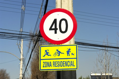 Traffic sign, 40 km hour, in residential street