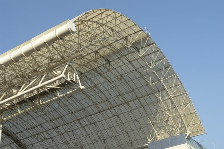 Steelwork, elevated curved roof of building. Stock Photo