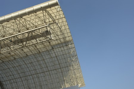 moll: Steelwork, elevated curved roof of building. Stock Photo