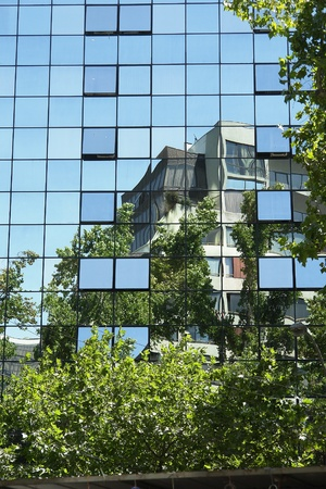 Urban reflected image the buildings windows Stock Photo