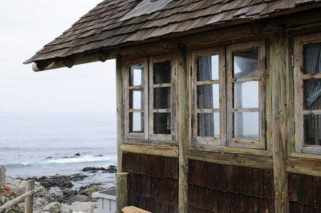 Cabin, Windows rustic looking the sea. Stock Photo - 11826440