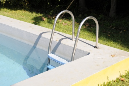 Steel ladder for swimming pool, close-up
