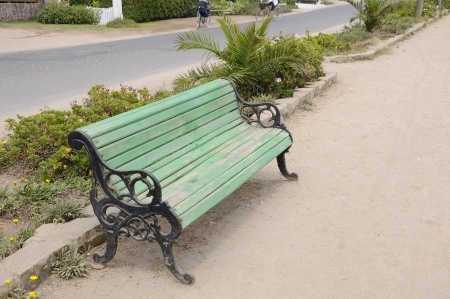 rustic wooden bench Stock Photo