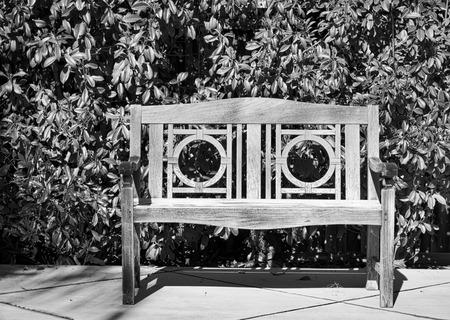 Zwart-witte oude teakbank met heggenachtergrond Stockfoto