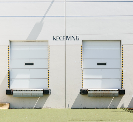 Two receiving doors on loading dock Stockfoto