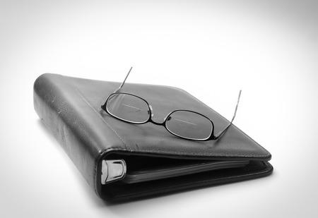 古い眼鏡ノートの残りの部分します。 写真素材