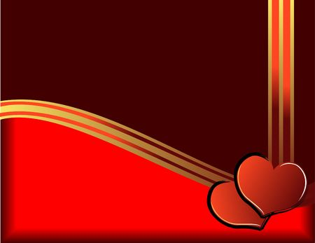 Valentine day illustration with hearts and golden ribbon illustration