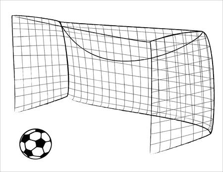 Illustratie van een voet bal gate en ball - vector Vector Illustratie