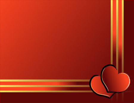 Valentine day illustration with hearts and golden ribbon - vector Vector