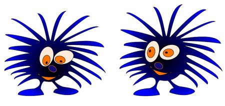 annoying: 2 blue monsters - vector