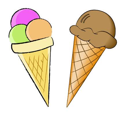 와플: Ice cream in a waffle cone - vector 일러스트