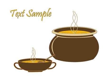 soup spoon: Cauldron and a mug with hot orange soup Illustration