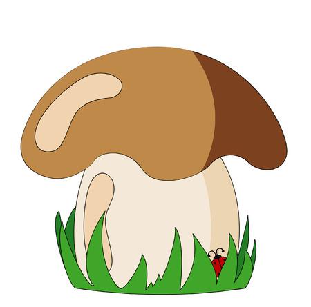 pilz cartoon: Pilz mit Gras und Marienk�fer