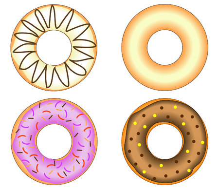 Four Doughnuts with colorful glazing