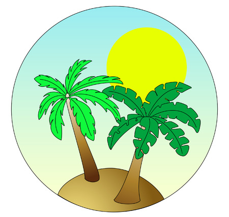 Palm Island on sky blue background with sun Vector