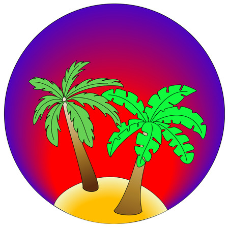 Palm Island on gradient blue and red background Vector