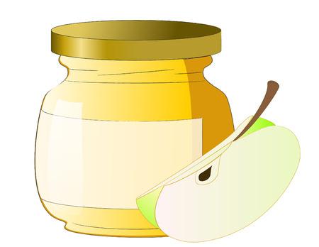 Honey jar with apple Stock Vector - 5564361