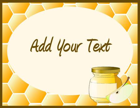 Honey jar with apple Stock Vector - 5564360