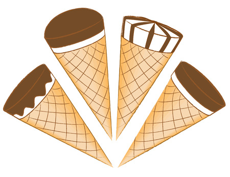 glazing: Ice-cream in waffle cones with chocolate glazing Illustration