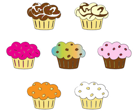 cukroví: Collection of colorful cupcakes