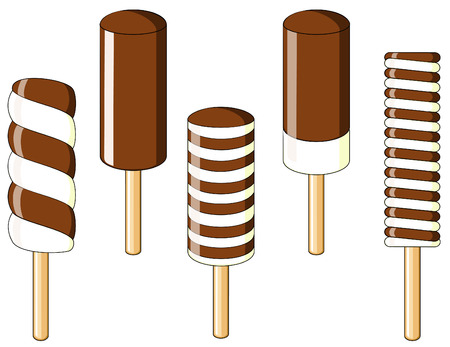 Chocolate ice-cream on a wooden stick Stock Vector - 5875603