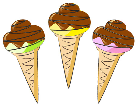 glazing: Ice cream in a waffle cone with Chocolate glazing Illustration