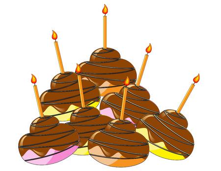 cup cakes: Coloridos pasteles de taza, con cristales de chocolate y una vela